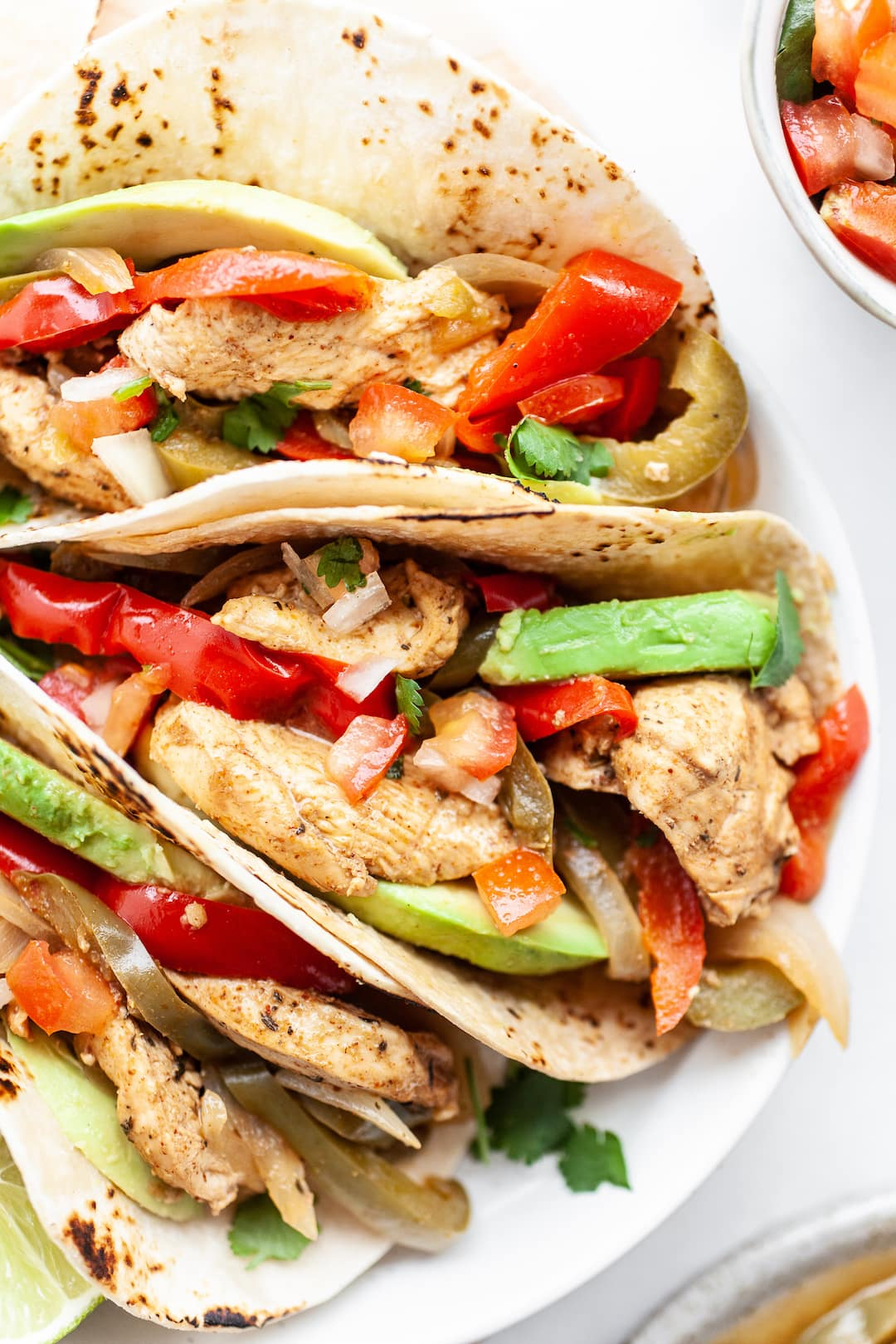 Close up of xInstant Pot Chicken Fajitas