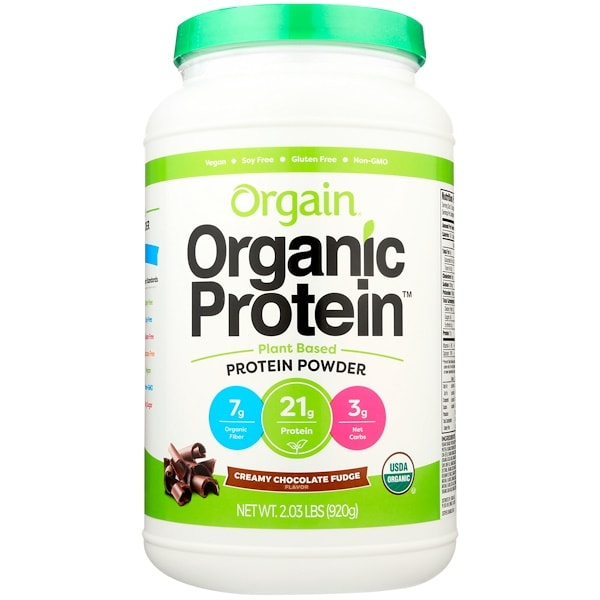 Orgain Organic Protein Powder, Plant Based, Creamy Chocolate Fudge