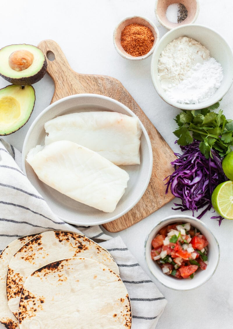 Fresh ingredients for Healthy Air Fryer Fish Tacos