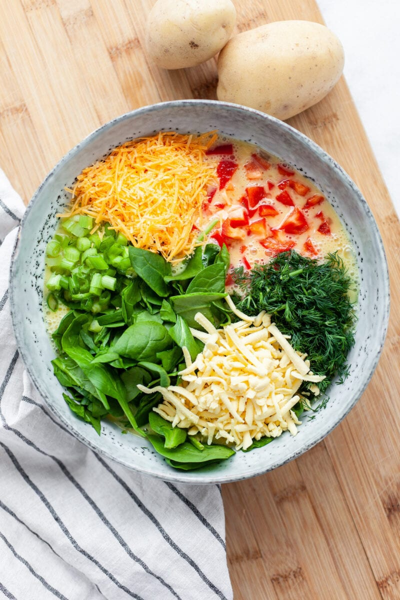 Ingredients in a bowl for Dairy Free Breakfast Casserole