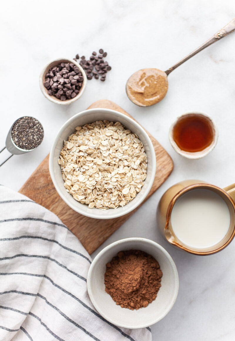Healthy Chocolate Overnight Oats ingredients overhead shot