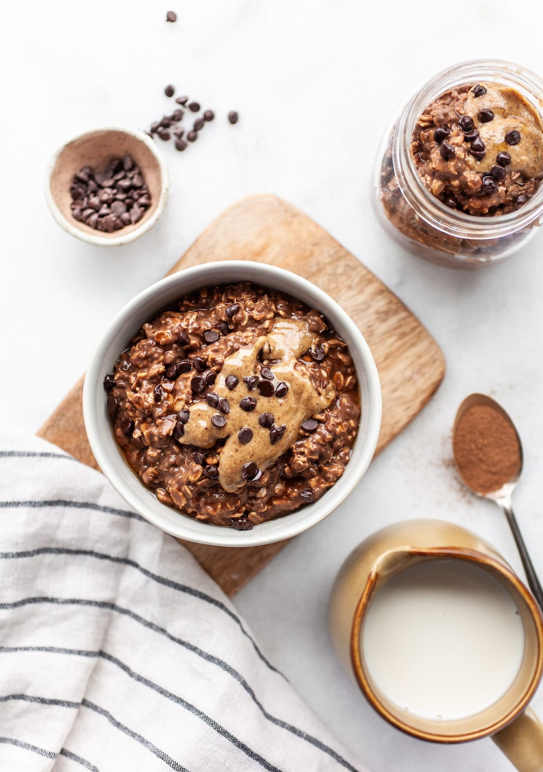 Overhead shot of Healthy Chocolate Overnight Oats on a marble background