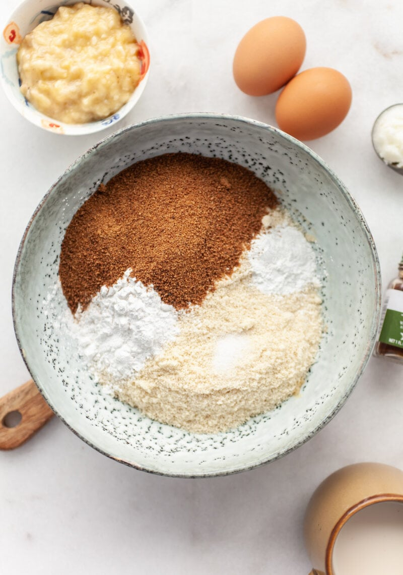Easy Almond Flour Banana Muffins ingredients in a bowl
