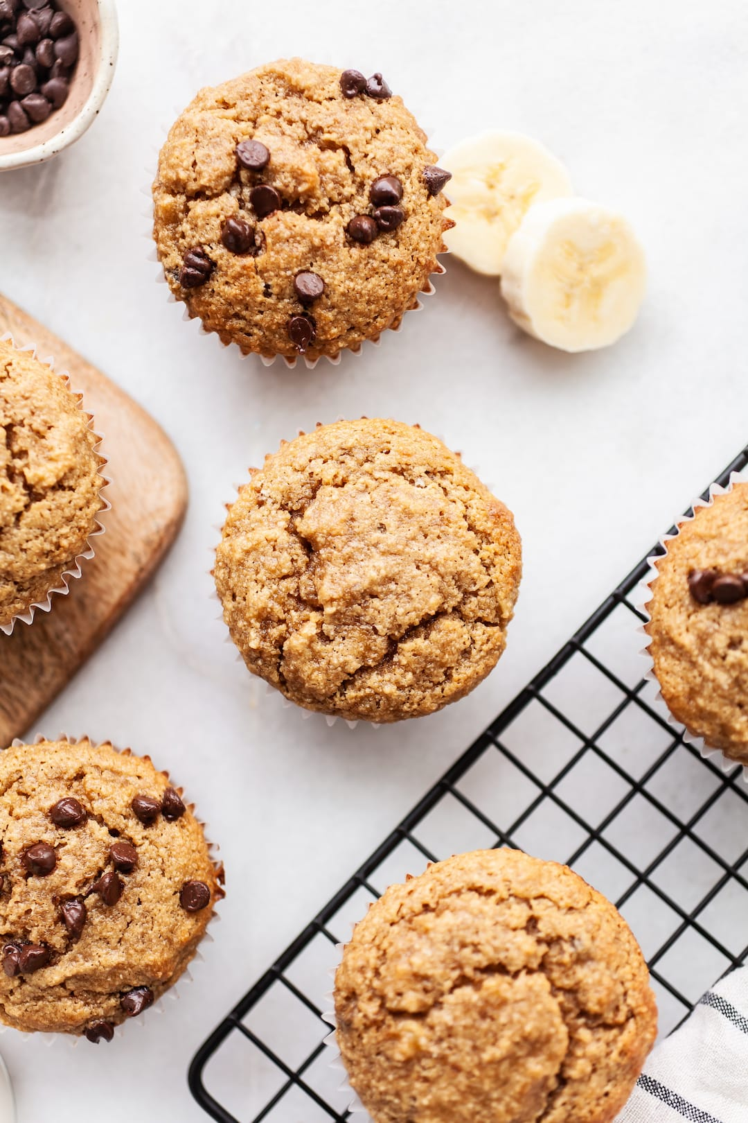 Overhead view of Easy Almond Flour Banana Muffins