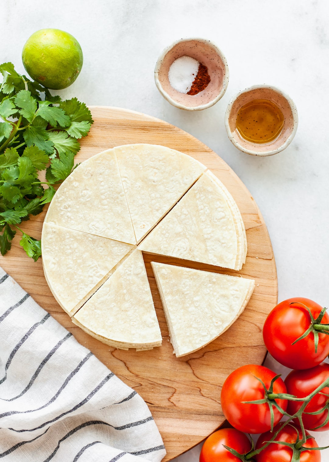 Ingredients for homemade air fryer tortilla chips
