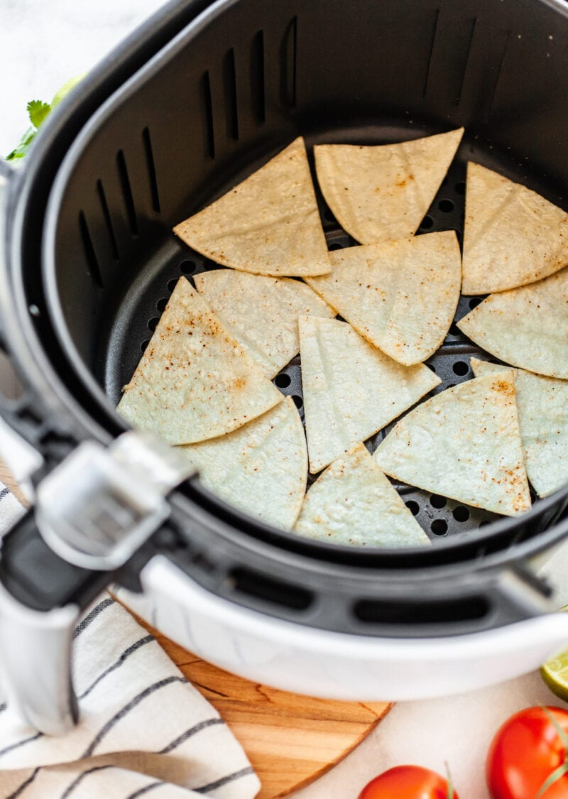 uncooked tortilla chips in the air fryer