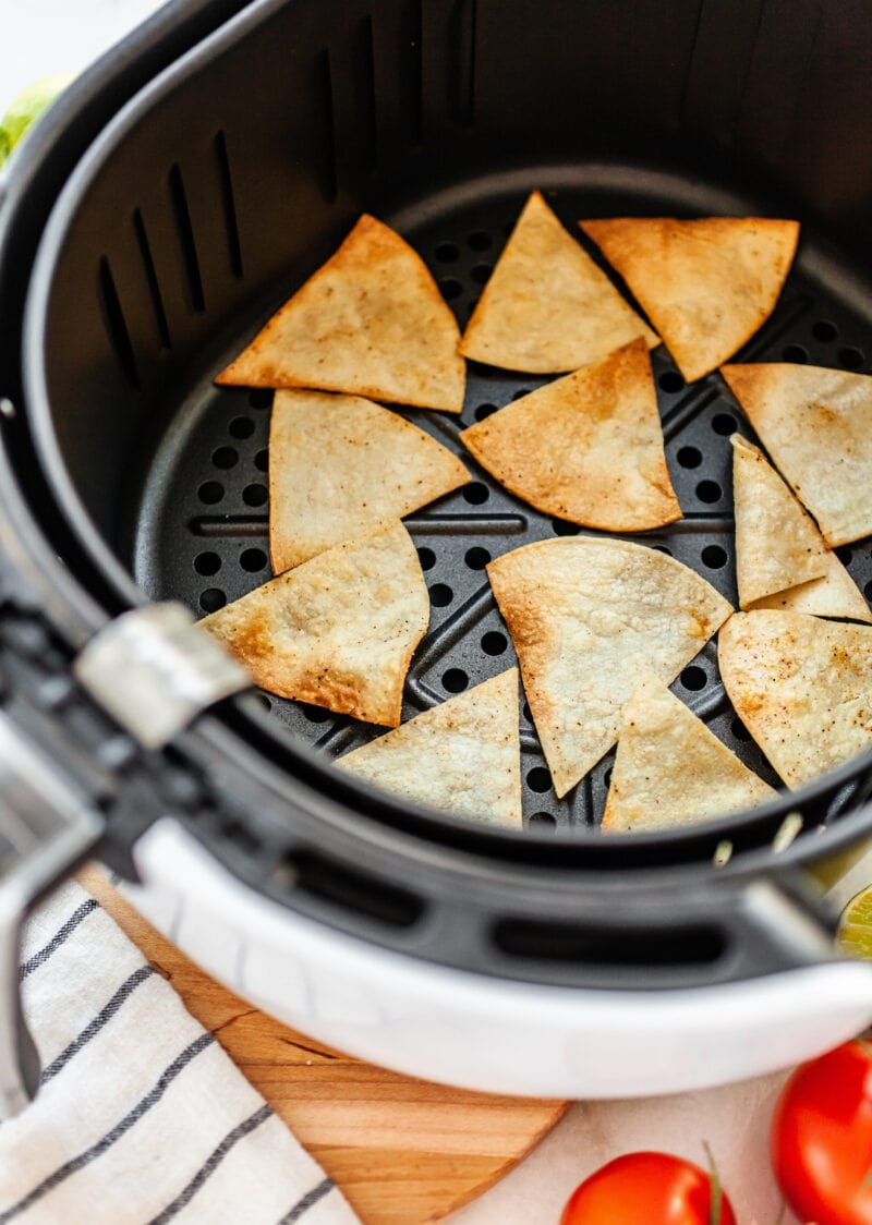 cooked tortilla chips in the air fryer