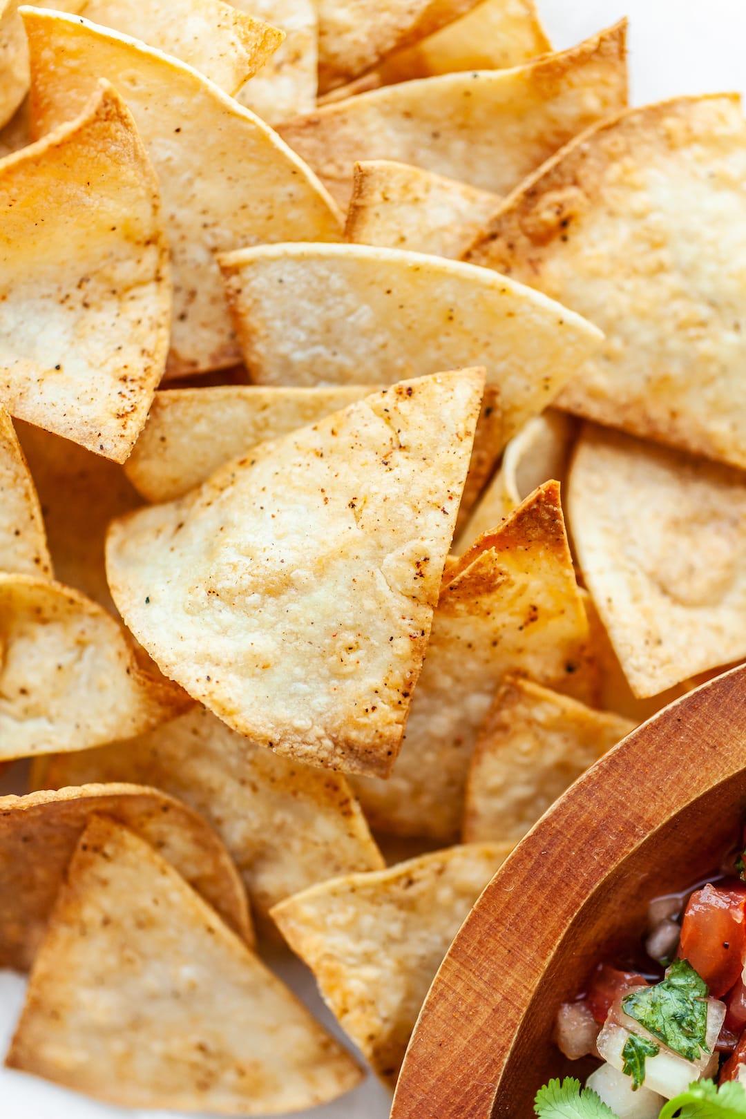 Close up of air fryer tortilla chips