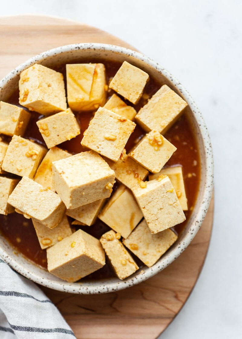 Raw tofu in marinade