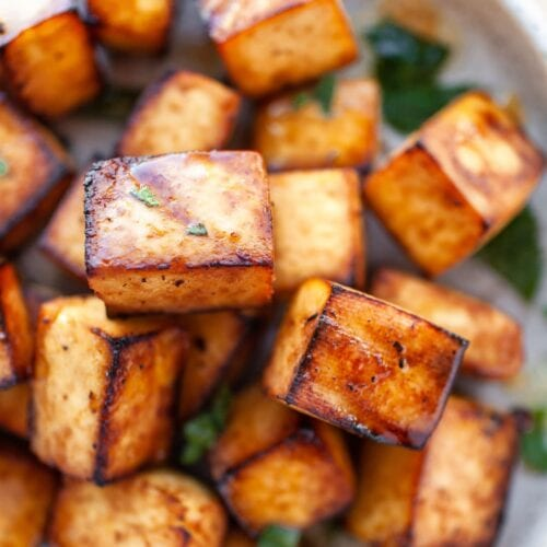 Close up view of Crispy Air Fryer Tofu pieces