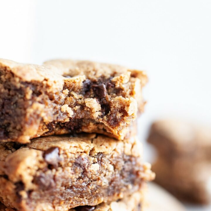 Close up of Best FUDGY Vegan Blondies from the side