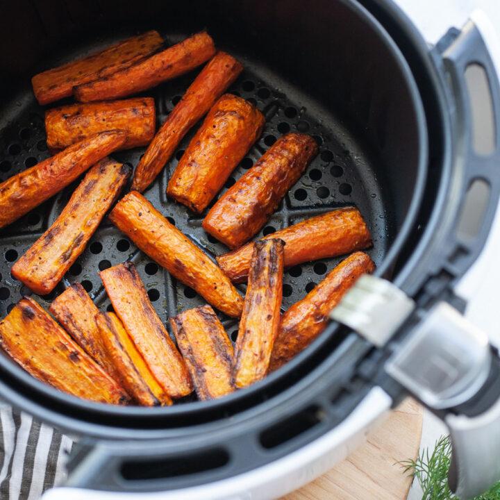 Incredible Air Fryer Carrots in the air fryer basket