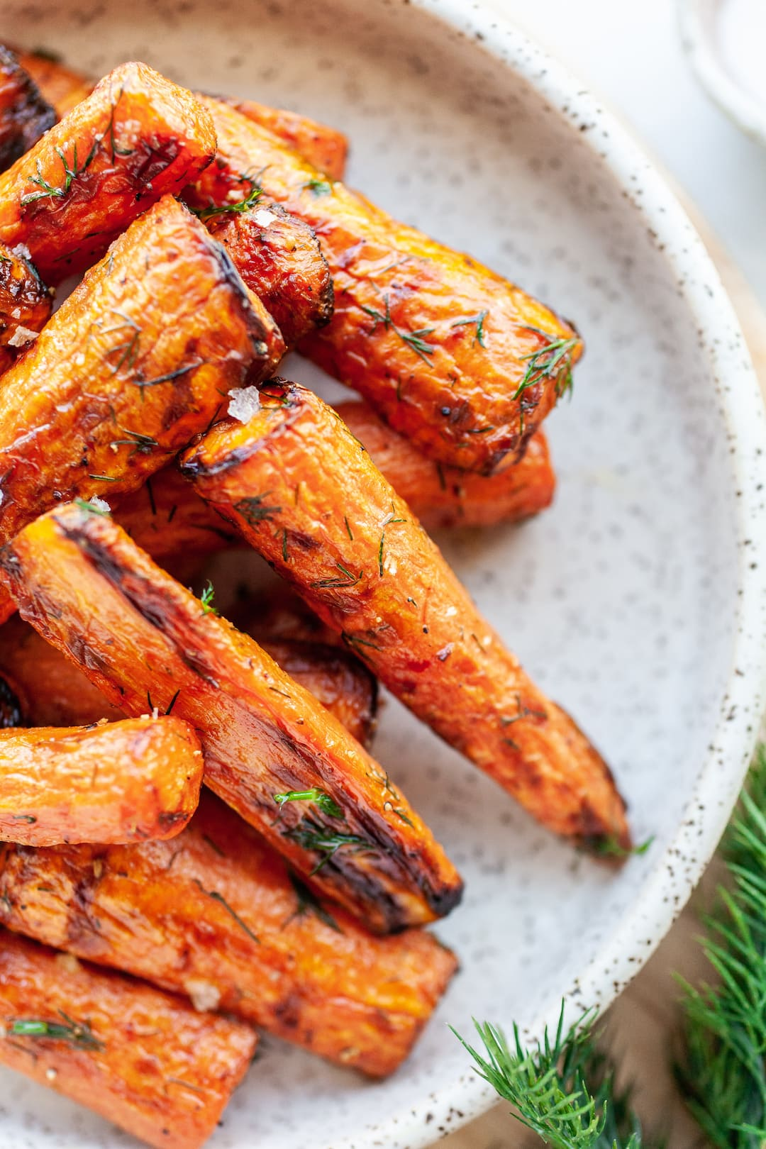 close up of Incredible Air Fryer Carrots on a plate