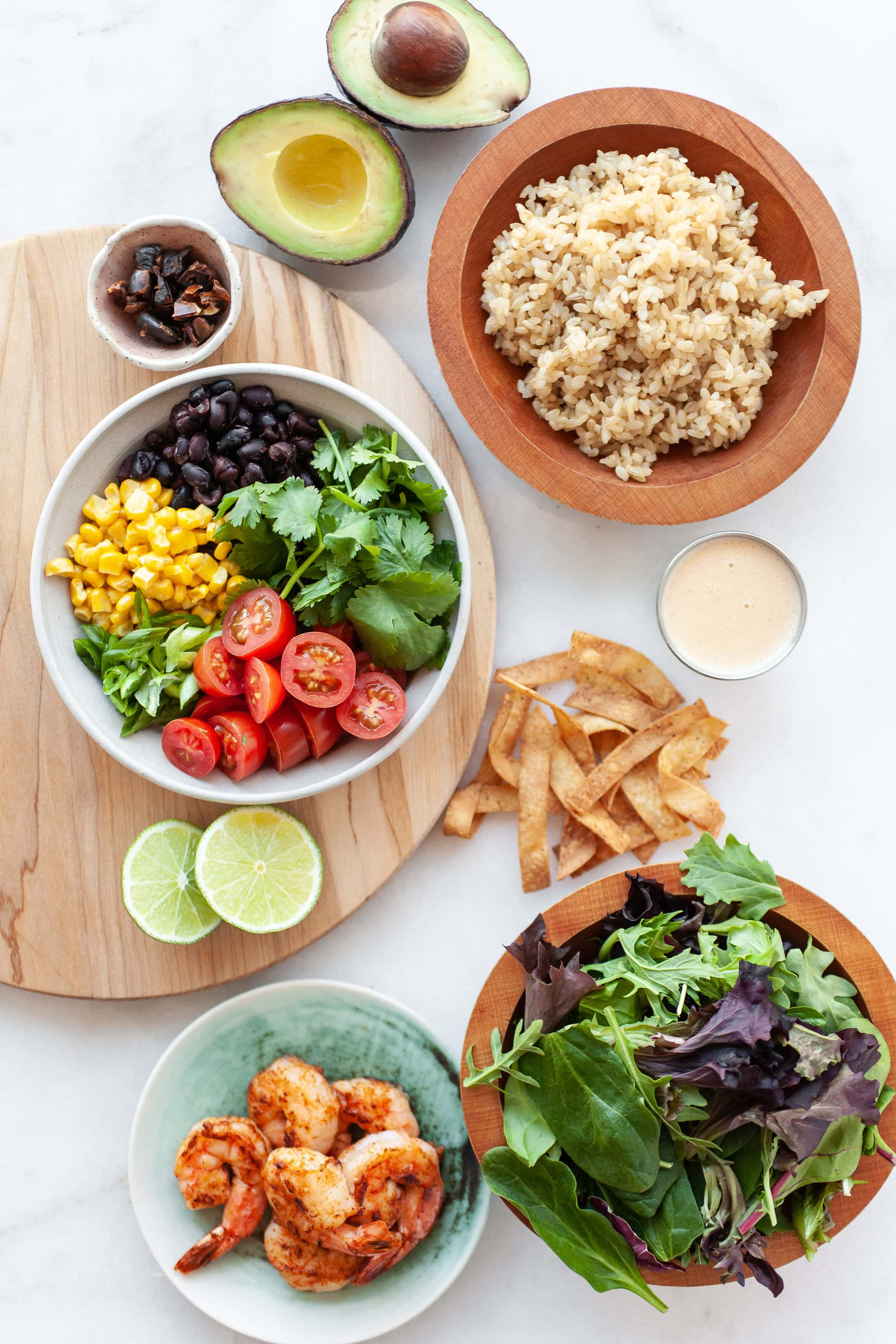 Overhead view of ingredients for Healthy Southwest Salad