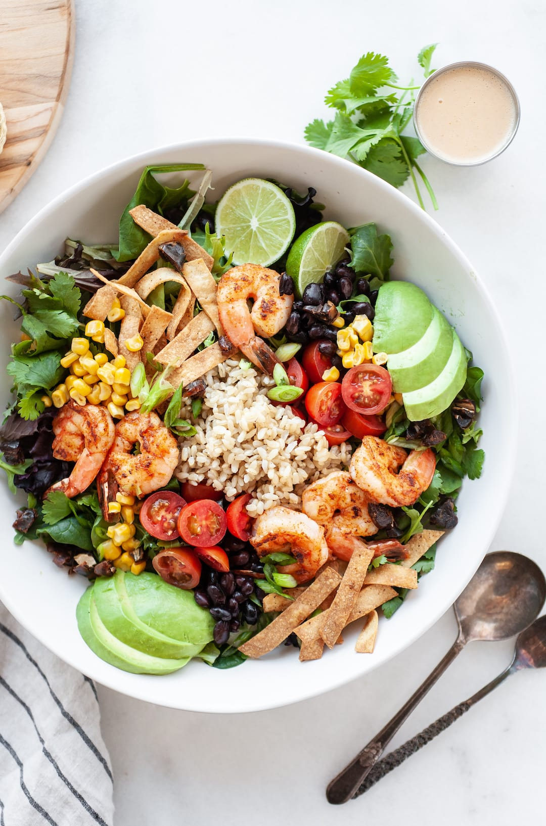Bowl of Healthy Southwest Salad with colourful vegetables