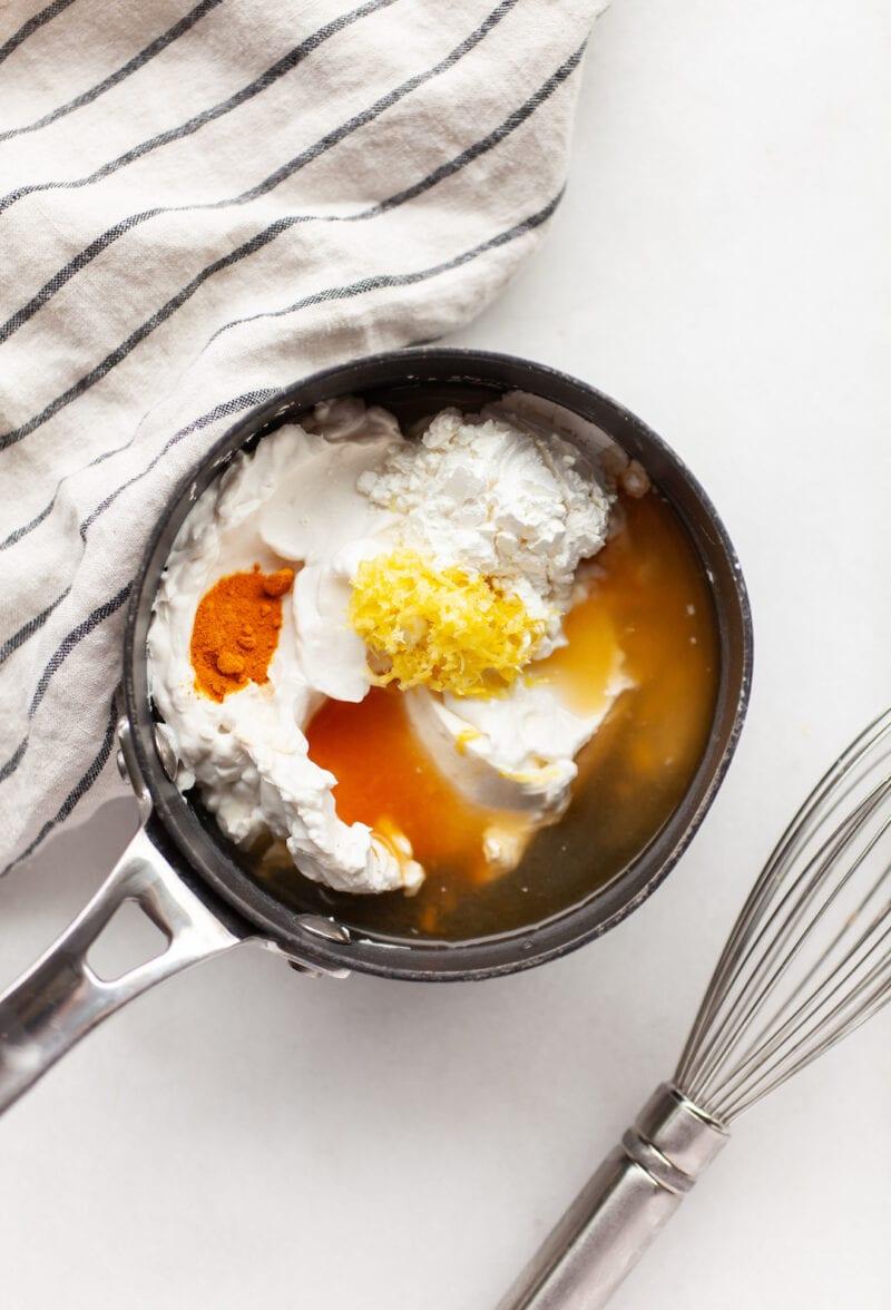 Ingredients for Best Vegan Lemon Bars custard in a pot