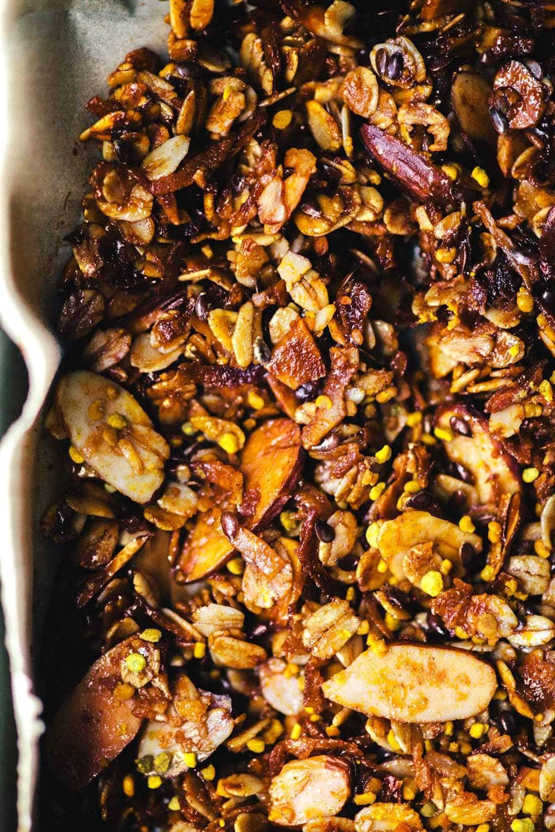 Close up of homemade granola made with bee pollen