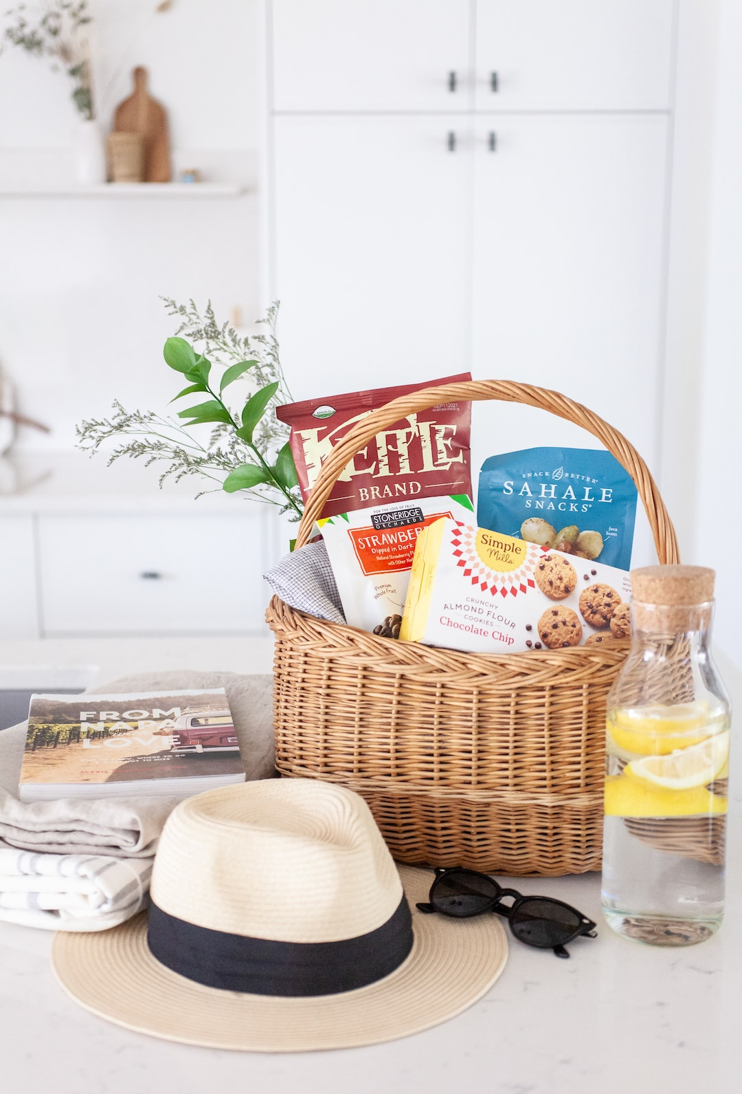 Basket on a kitchen counter filled with snacks