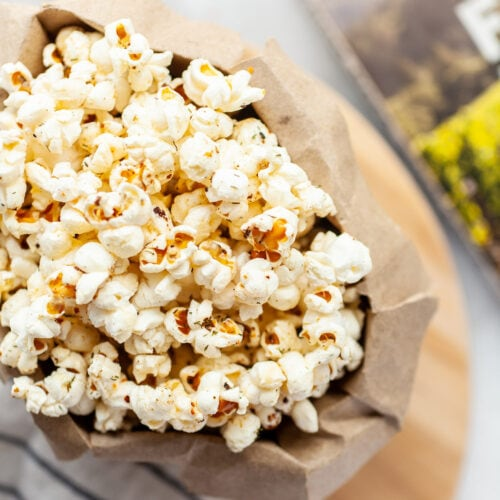 paper bag filled with instant pot popcorn
