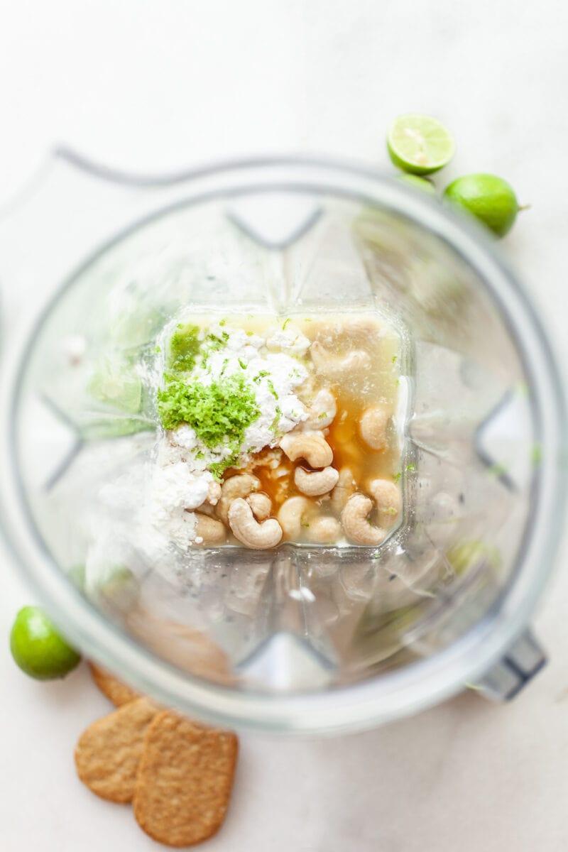 Ingredients for Vegan Key Lime Pie in a blender