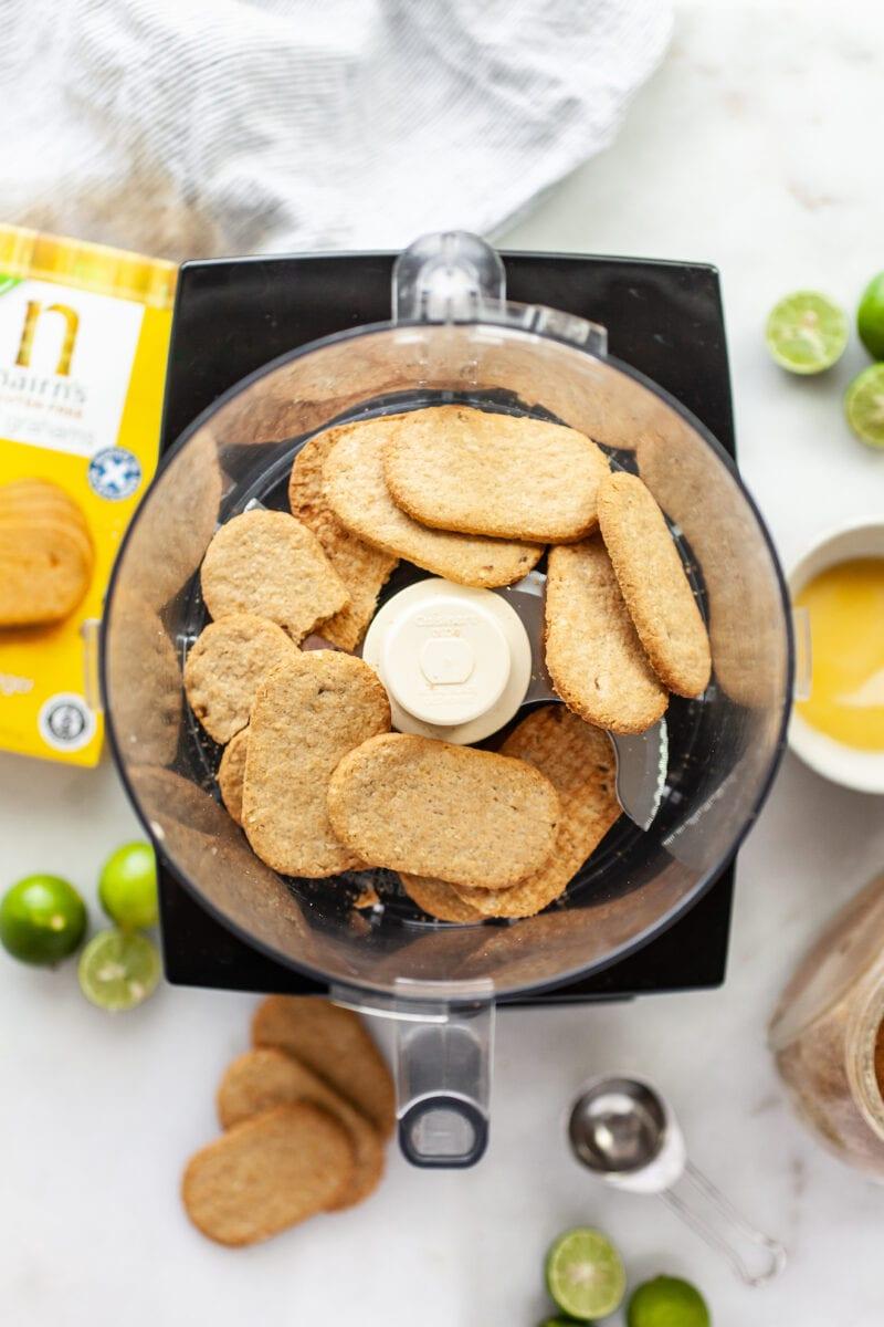 vegan key lime pie graham cracker crust ingredients in a food processor
