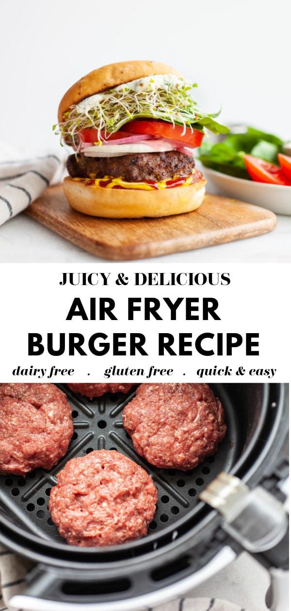 Healthy Air Fryer Burger Recipe pin 3