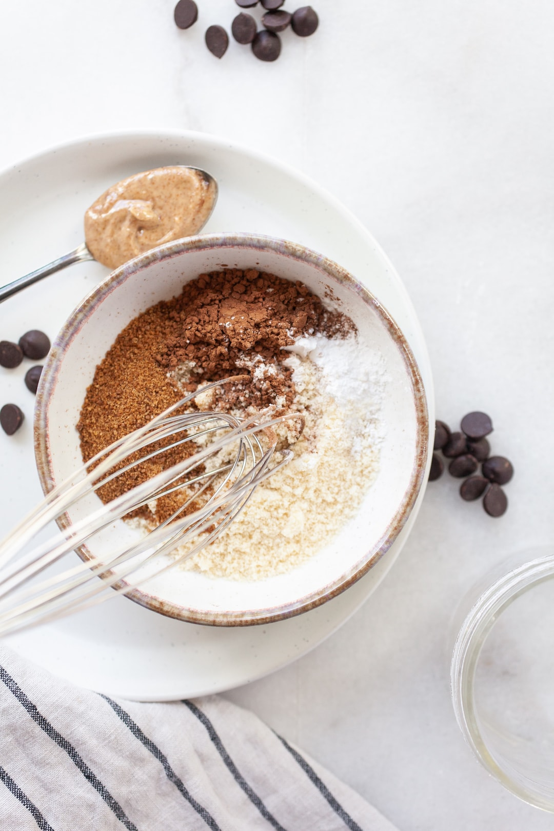 ingredients for vegan mug brownie in a small bowl